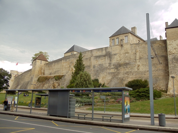 Le Château de Caen from ground level.