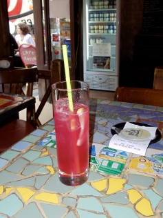 One of the strawberry margaritas.