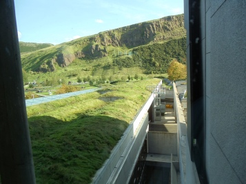The view of Arthur's Seat from inside the Scottish Parliament building.