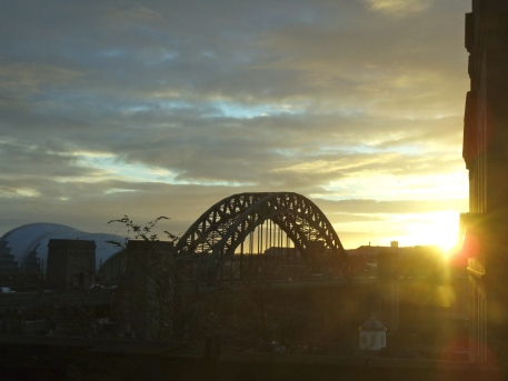 First train to Newcastle gets in just as the sun gets up.