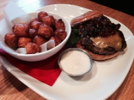 Farmer burger and Sweet Potato Tots.
