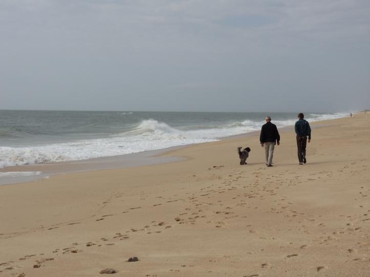 couple and dog at Praia de Faro